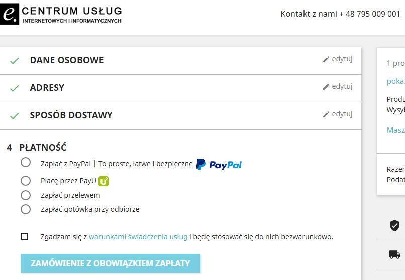 Formy płatności w Centrum Usług Internetowych i Informatycznych e.